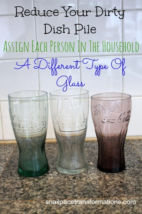 reduce your dirty dish pile assign each person in the household a different type of glass