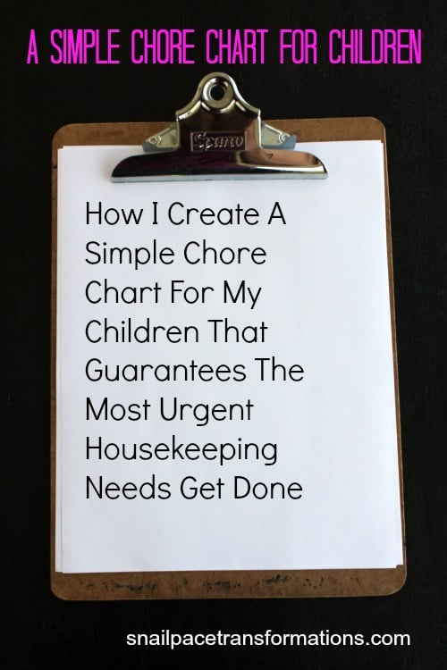 A Simple Chore Chart For Children