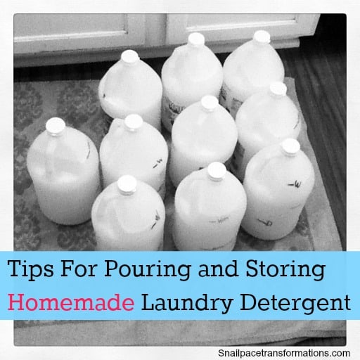 tips for pouring and storing homemade laundry detergent
