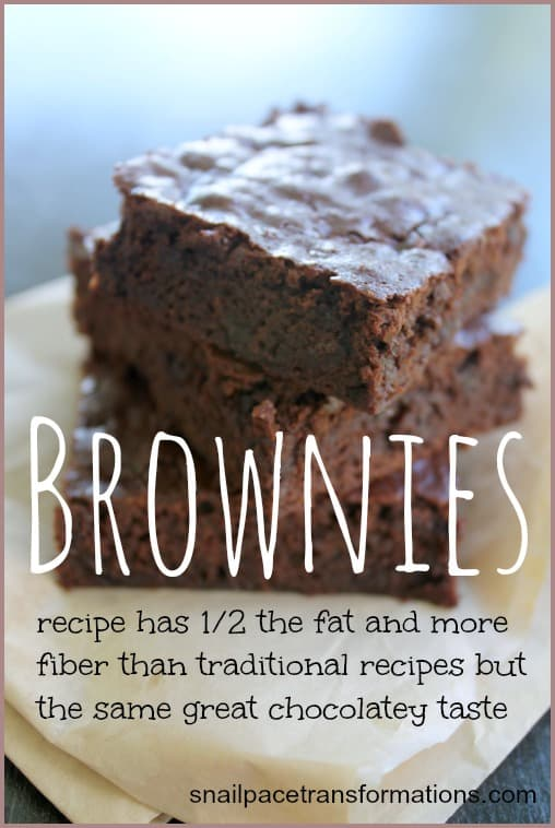 brownies recipe has 12 the fat and more fiber than traditional recipes but the same great chocolatey taste
