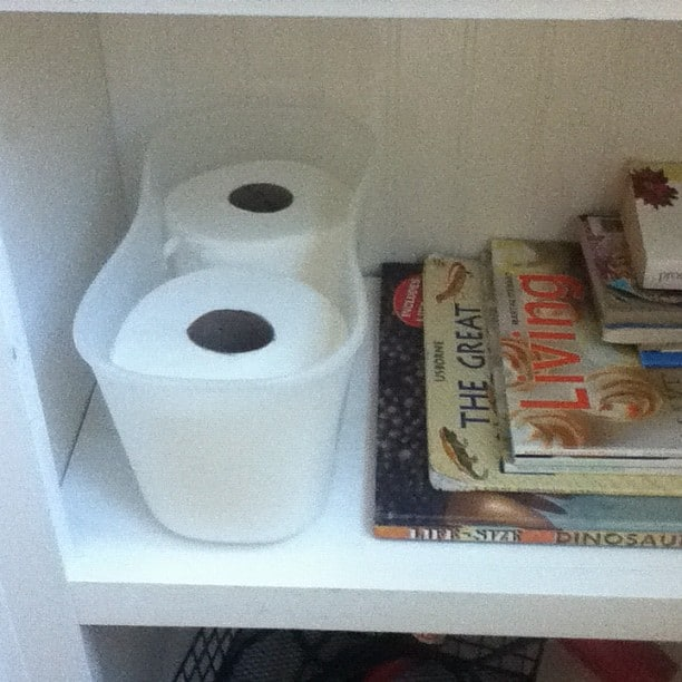 toilet paper its on a shelf