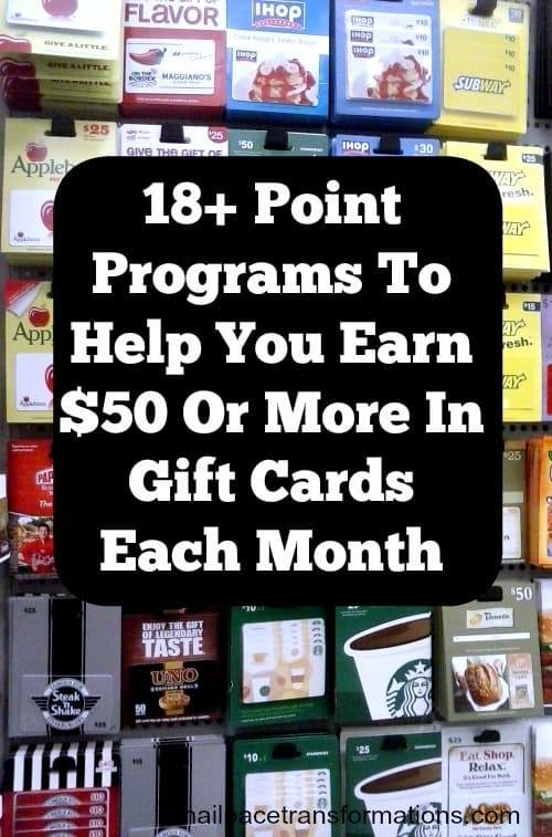 Use this list of 18+ point programs, survey sites, cash back sites, rebate apps and more to earn $50 or more in gift cards each month.