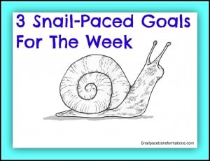 3 snail-paced goals for the week