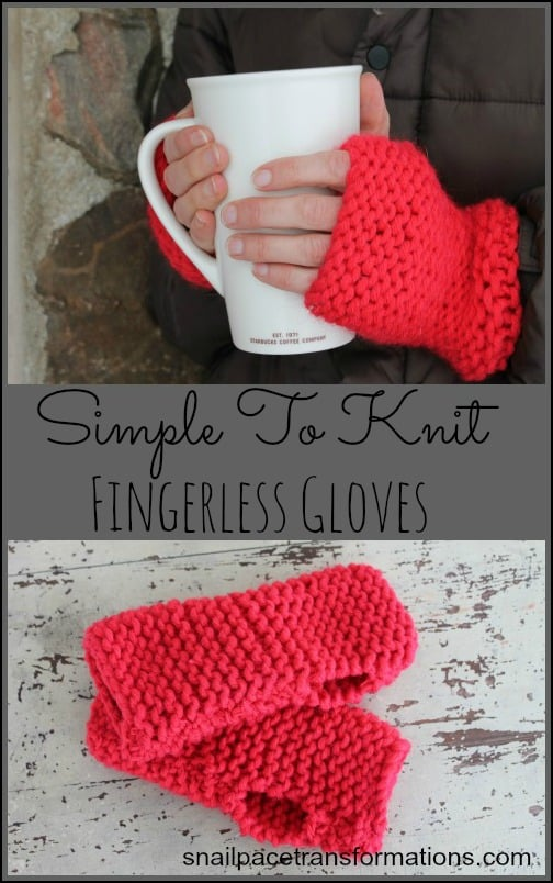 Simple to knit fingerless gloves. Great for a beginner knitter. Uses just one skein of yarn.