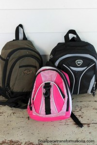 back packs used on bike ride