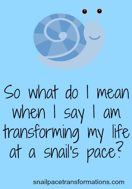 so what do I mean when I say I am transforming my life at a snail's pace