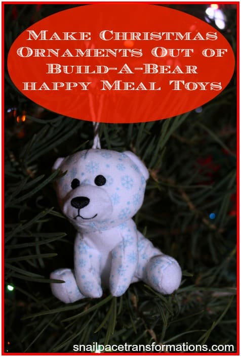 make Christmas ornaments our of build-a-bear happy meal toys