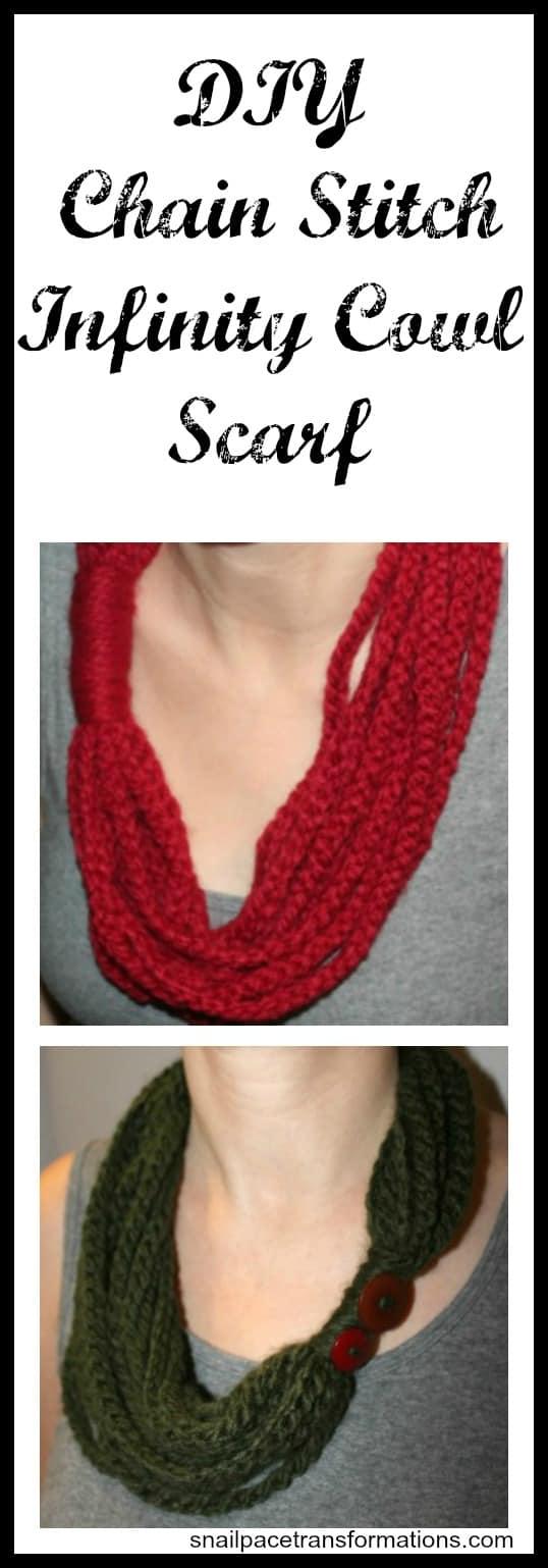 DIY Chain Stitch Infinity cowl scarf