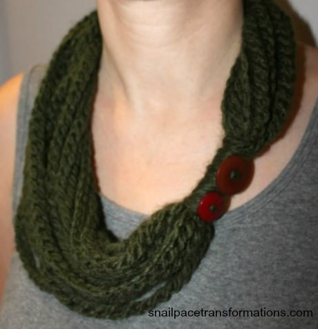 Simple Chain Stitch Infinity Cowl Scarf - Snail Pace Transformations