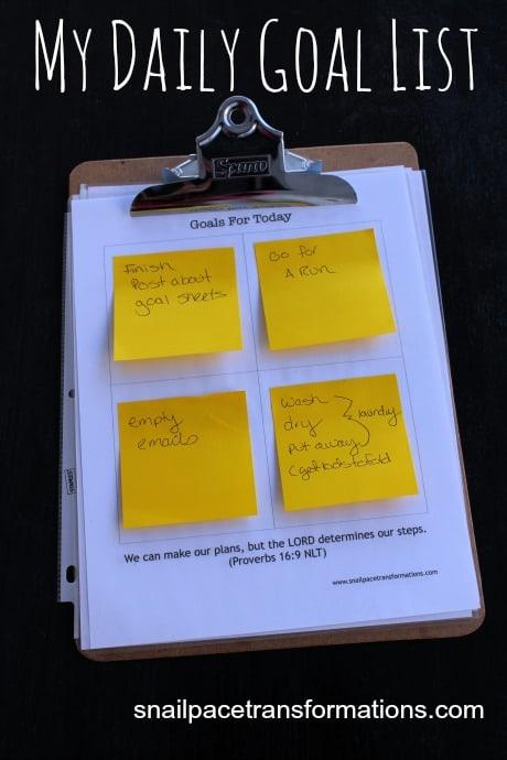 my daily goal list