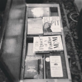 my piano bench of books