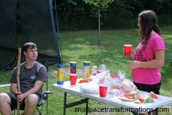 A wiener roast gathering table for food