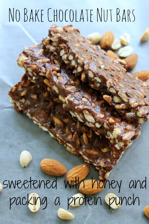 no bake chocolate nut bars sweetened with honey and packing a protein punch
