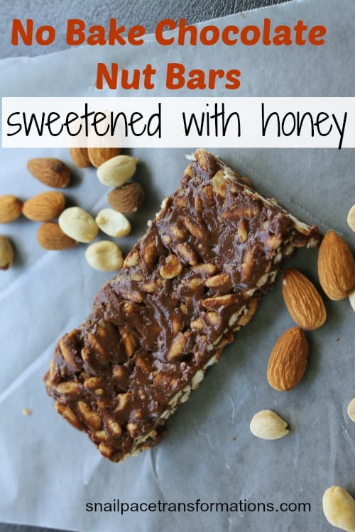 no bake chocolate nut bars sweetened with honey
