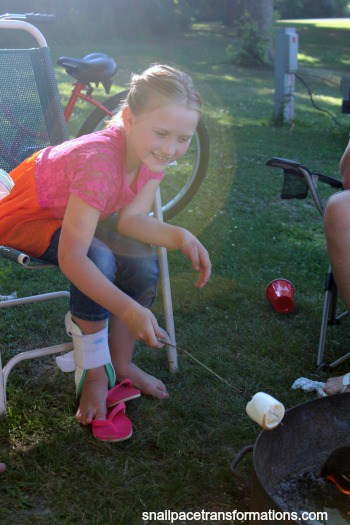 roasting marshmallows part of the wiener roast fun