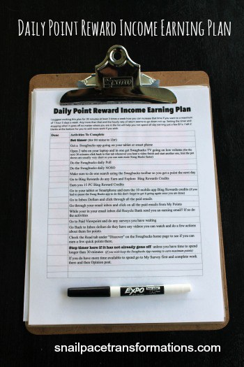 Daily point reward income earning plan