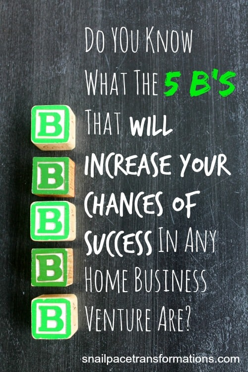 Do you know what the 5B's that will increase your chances of success in any home business venture are