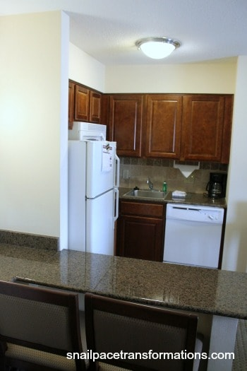 separate kitchen in our hotel room