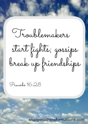 Proverbs 16:28 Troublemakers start fights; gossips break up friendships. (The Message)