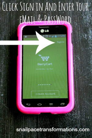 sign in to BerryCart app