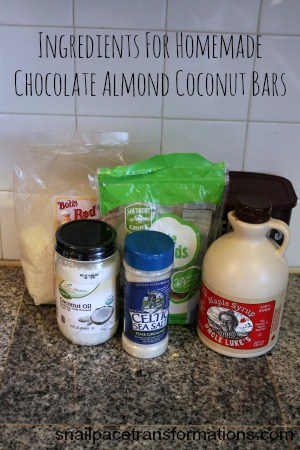 Ingredients for homemade chocolate almond coconut bars