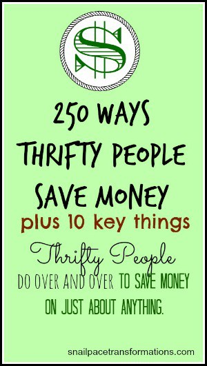 250 Ways Thrifty People Save Money Plus 10 Key Things Thrifty People Do Over & Over To Save Money On Just About Anything (med)