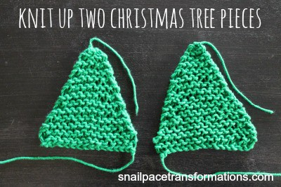 knit up two christmas tree ornament pieces