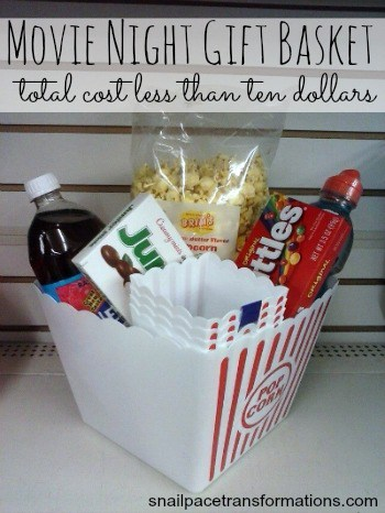 Make a Dollar Tree Movie Night Gift Basket