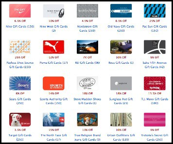 Screen Shot of card pool clothing gift cards