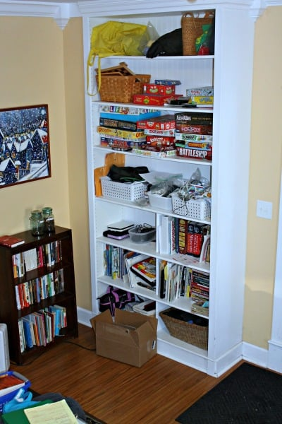 decluttering of large bookcase