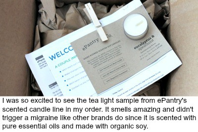 ePantry candle sample in box