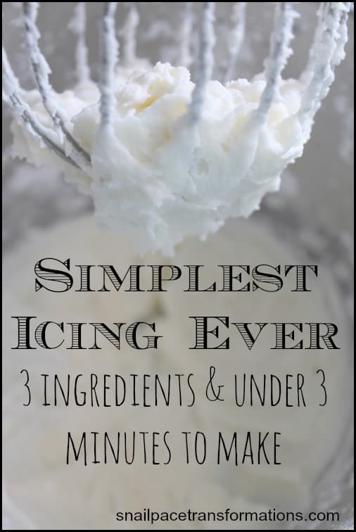 Simplest icing recipe ever! Uses just 3 ingredients and takes under 3 minutes to make.