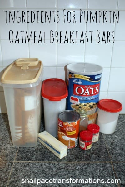 ingredients for pumpkin oatmeal breafast bars