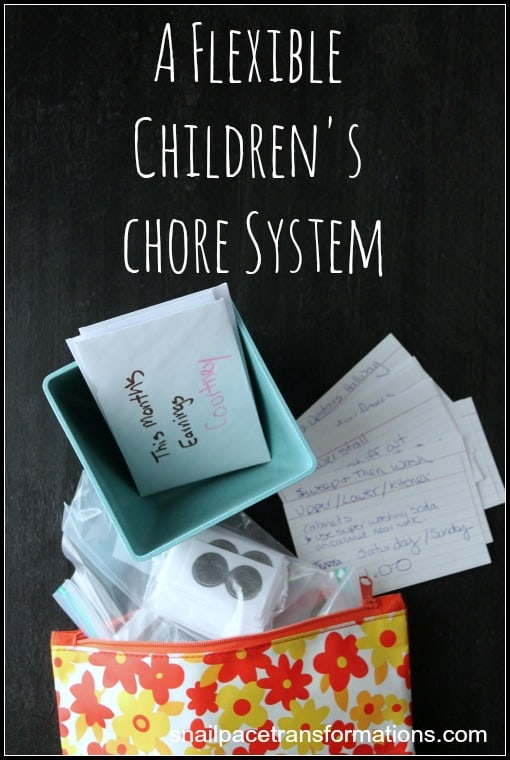 A flexible Children's chore system adaptable to changing daily life.