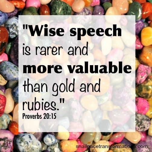 Proverbs 20 verse 15 words