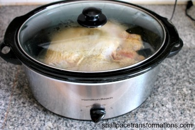 Simple Sunday dinner chicken cooking in the crock pot