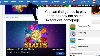 game section on swagbucks