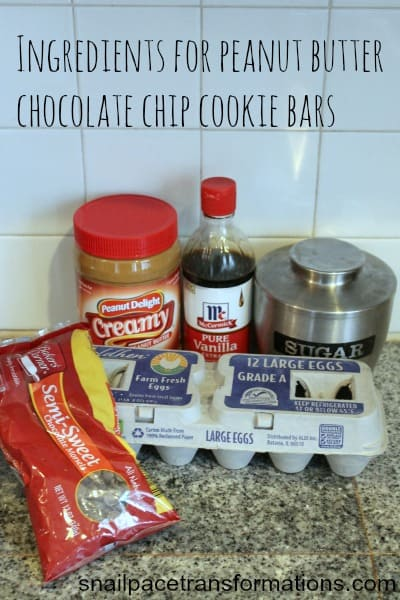 ingredients for peanut butter chocolate chip cookie bars
