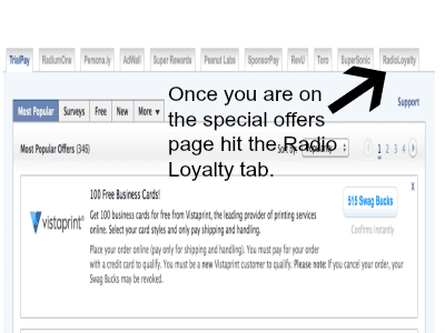 radio loyalty on swagbucks