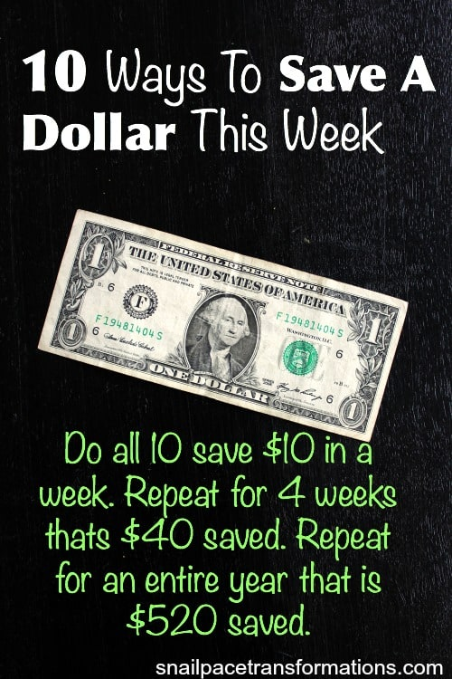 10 ways to save a dollar this week
