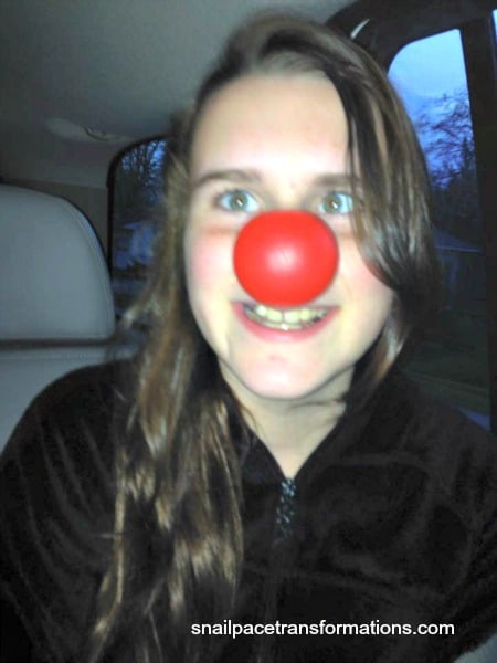 Courtney and the clown nose too funny