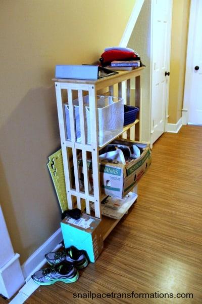 the hallway bookshelf