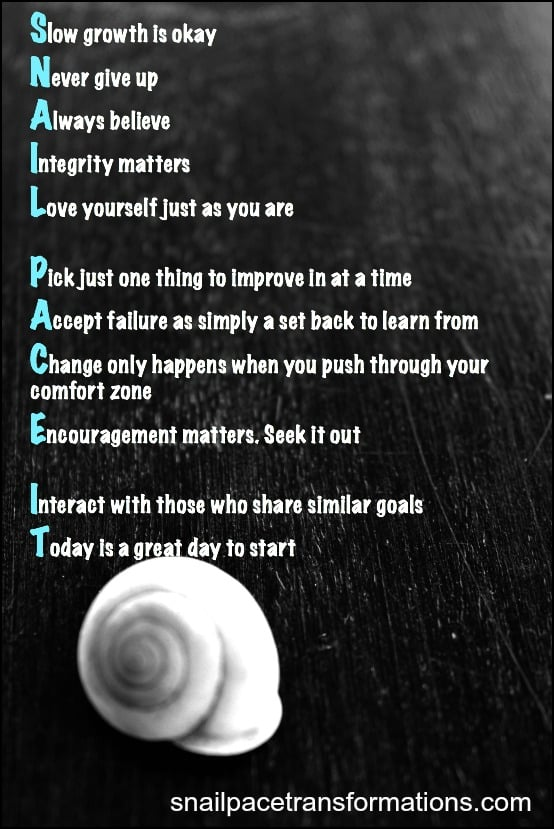 Snail Pacing your goals allows you to enjoy the journey--and life is the journey
