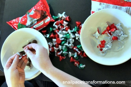 unwrapping candies for Christmas baking