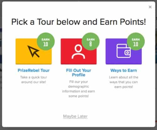 Fill out your profile and earn gift cards with PrizeRebel.