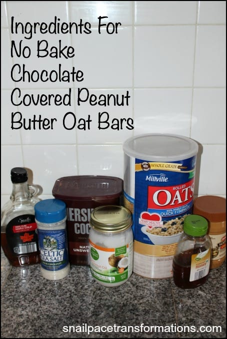 Ingredients for No Bake Chocolate Covered Peanut Butter Oat Bars.