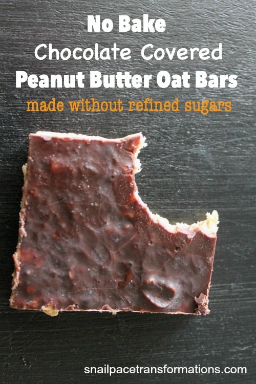 No bake chocolate covered peanut butter oat bars made without refined sugars, yet still a satisfying solution for a sweet tooth.