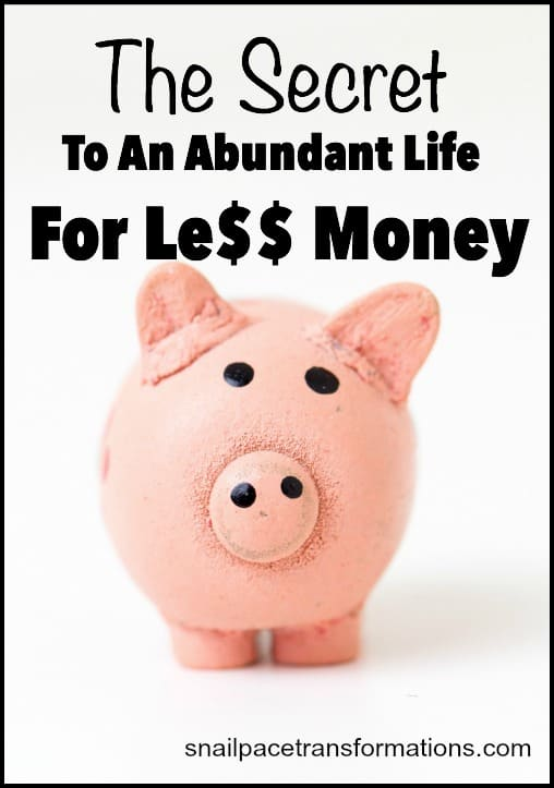 The secret to an abundant life for less money.