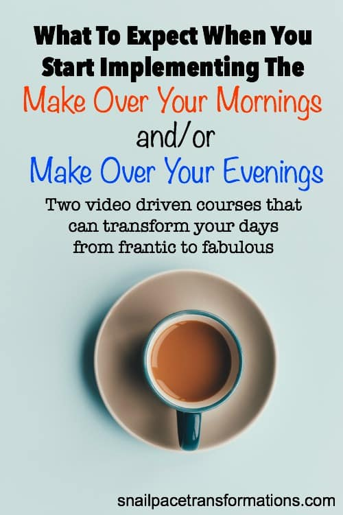 What to expect when you start transforming your days with the Make Over Your Mornings and Evenings courses. Trust me--it is not as hard as you think to transform your days from frantic to fabulous.