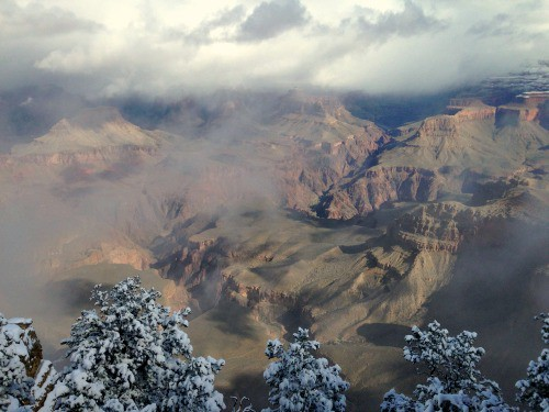 5 1/2 month RV trip: Grand Canyon on a cloudy day.